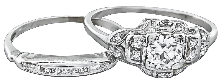 Old Mine Cut Diamond 14k White Gold Engagement Ring and Wedding Band Set