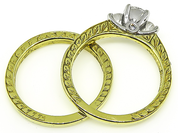Round Cut Diamond 19k Yellow Gold and Platinum Engagement Ring and Wedding Band Set by Scott Kay