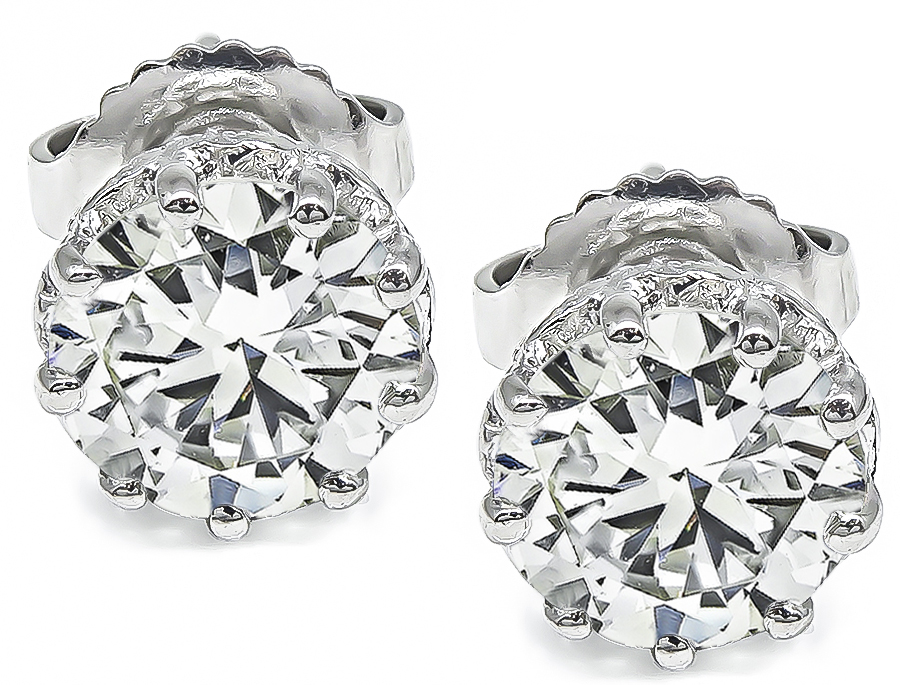 Round Brilliant Cut Diamond 18k White Gold Studs Earrings