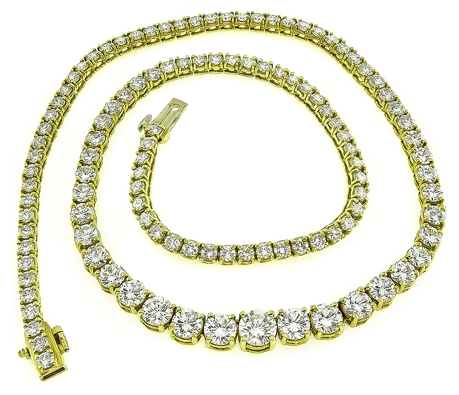 Estate 15.00ct Diamond Tennis Necklace