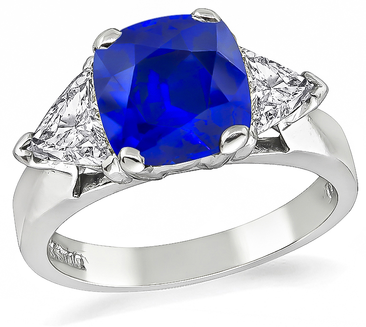 Estate 2.14ct Ceylon Sapphire 0.90ct Diamond Engagement Ring