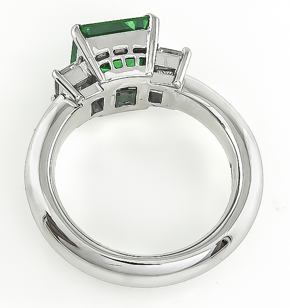 Estate 2.18ct Colombian Emerald 0.63ct Diamond Engagement Ring