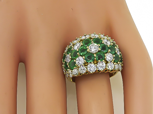 Estate 3.42ct Diamond 2.97ct Colombian Emerald Gold Ring