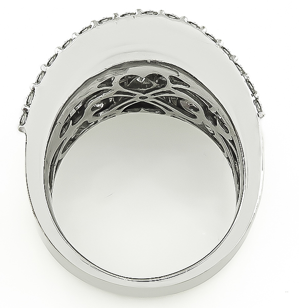 Princess Round and Baguette Cut Diamond 18k White Gold Cocktail Ring