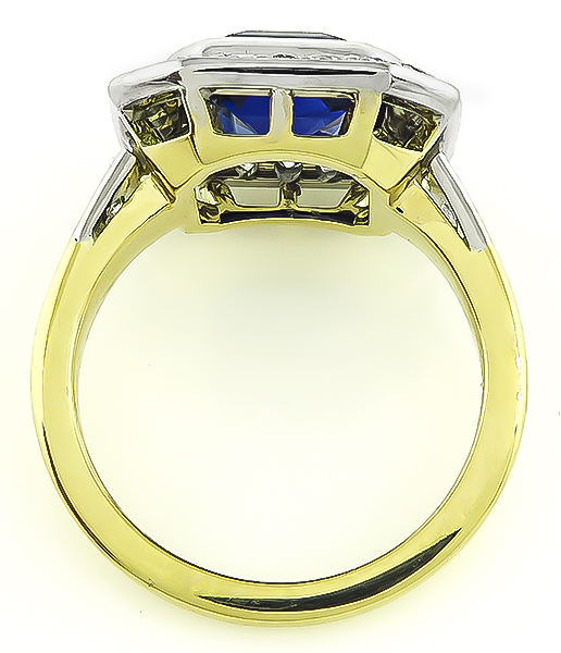 Vintage 4.03ct Sapphire 1.00ct Diamond Gold Engagement Ring
