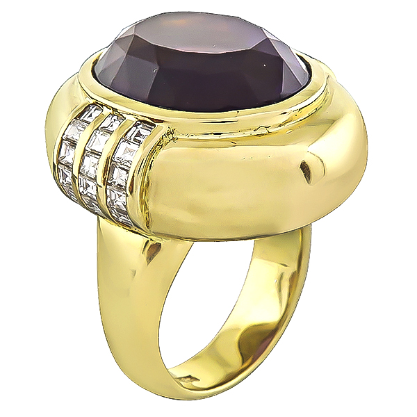 Estate 20.00ct Amethyst 1.00ct Diamond Gold Cocktail Ring