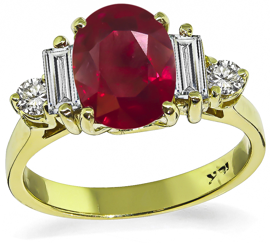 Estate 2.03ct Burma Ruby Diamond Engagement Ring