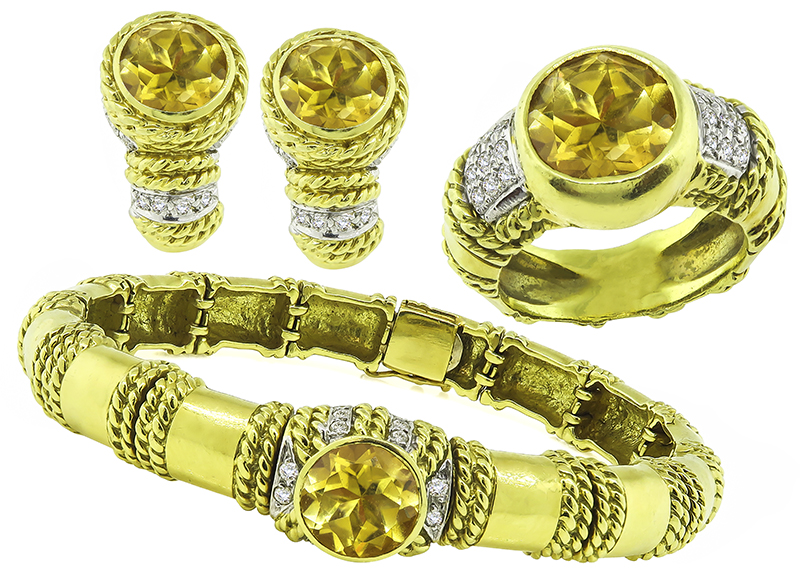 Round Cut Citrine Round Cut Diamond 18k Yellow Gold Jewelry Set by Cassis