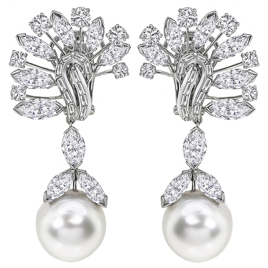 Estate David Webb 10.00ct Marquise, Round & Baguette Diamond South Sea Pearl Platinum Chandelier Earrings