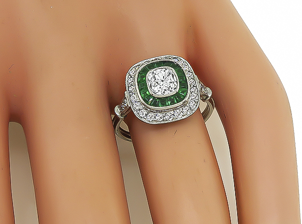 Estate 0.00ct Diamond Emerald Engagement Ring