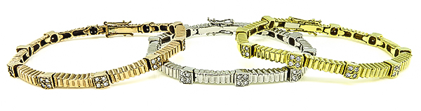 Estate Suite of 3 2.50ct Diamond Yellow Pink and White Gold Bracelet