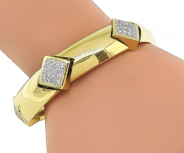 Estate 2.50ct Diamond Gold Bracelet