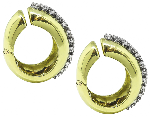 Round Cut Diamond 14k Yellow and White Gold Earrings