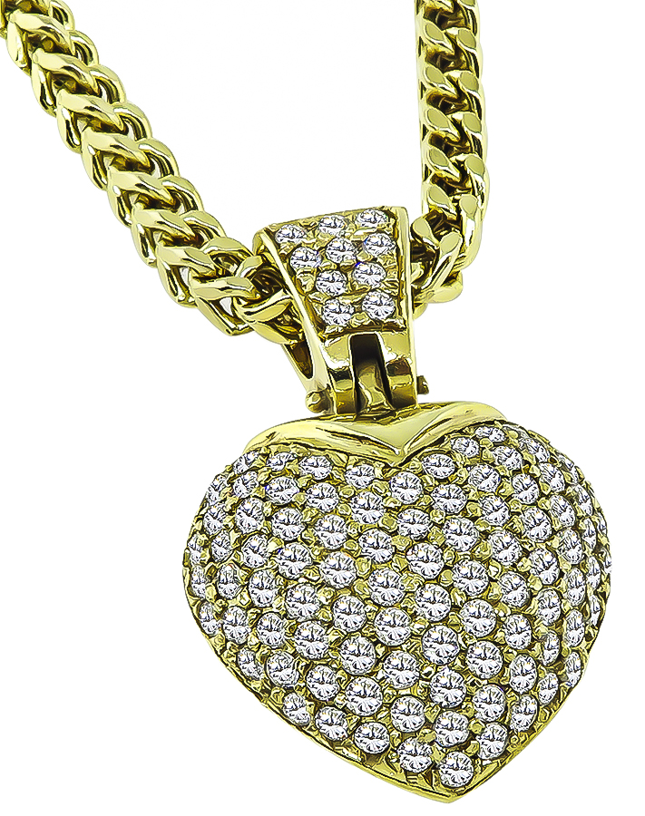 Estate 3.00ct Diamond Gold Heart Pendant Necklace