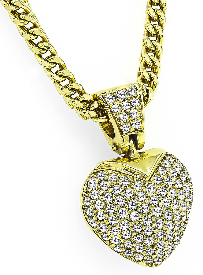 Round Cut Diamond 14k Yellow Gold Heart Pendant Necklace