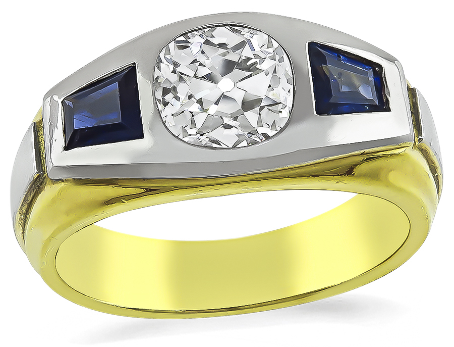Old Mine Cut Diamond Sapphire 18k Yellow and White Gold Ring