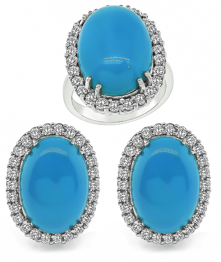 Estate Turquoise 3.00ct Diamond Ring and Earrings Set