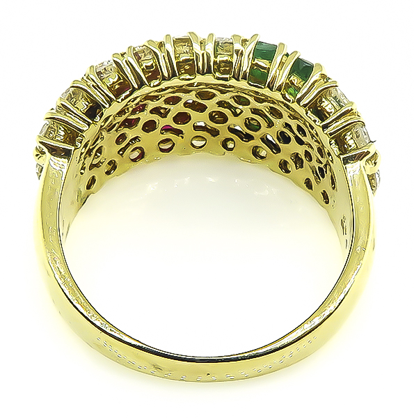 Round Cut Diamond Emerald and Ruby 18k Yellow Gold Ring