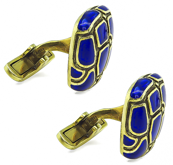 Estate Enamel Gold Cufflinks