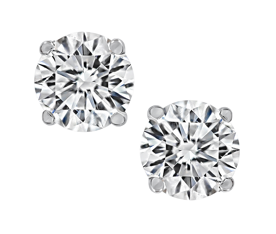 GIA Certified 0.52ct and 0.49ct Diamond Stud Earrings