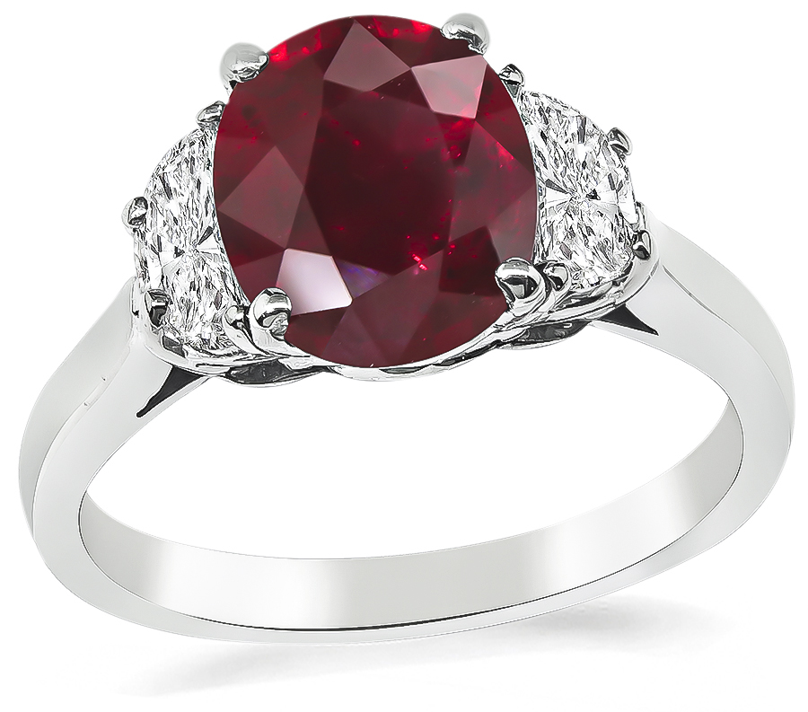 Estate GIA Certified 2.09ct Ruby 0.70ct Diamond Engagement Ring