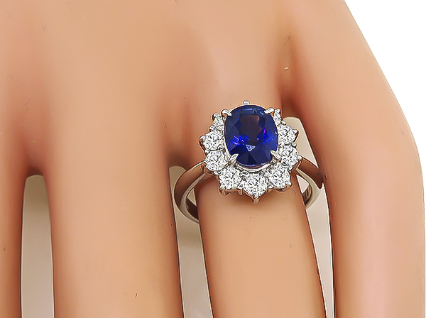 GIA 2.25ct Sapphire Diamond Engagement Ring