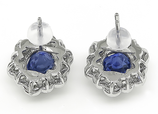 Estate GIA Natural No Heat 5.66ct Ceylon Sapphire 1.28ct Diamond Earrings
