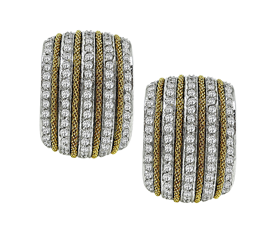Round Cut Diamond 18k White and Yellow Gold Earrings by Harpo's