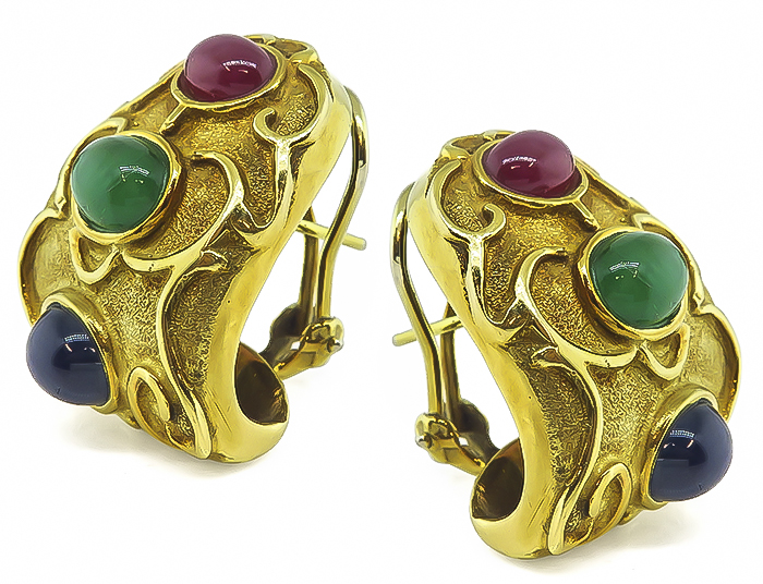 Cabochon Emerald Ruby Sapphire 14k Yellow Gold Earrings