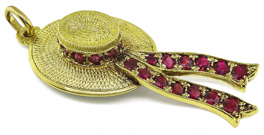 Ruby Gold Hat Pendant