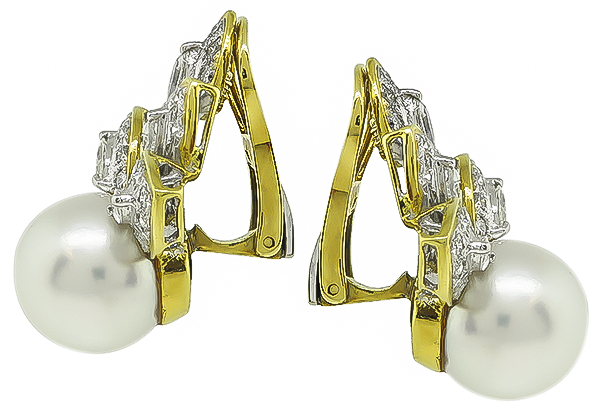 Marquise and Round Cut Diamond South Sea Pearl 18k Yellow and White Gold Earrings
