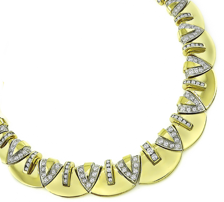 Estate 5.75ct Diamond Gold Necklace