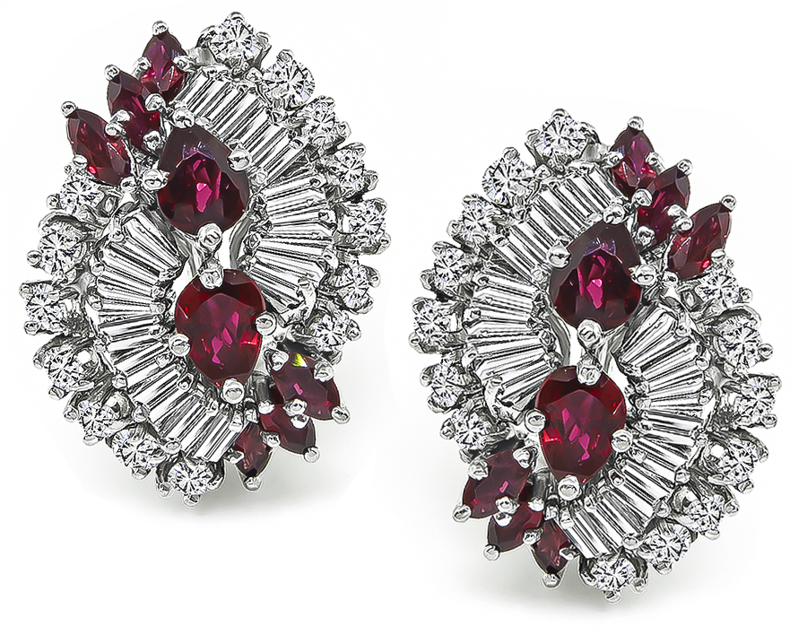 Marquise and Pear Shape Ruby Round and Baguette Cut Diamond 14k White Gold Earrings
