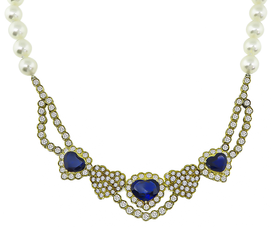 Estate 9.00ct Sapphire 7.00ct Diamond Pearl Heart Necklace and Earrings Set