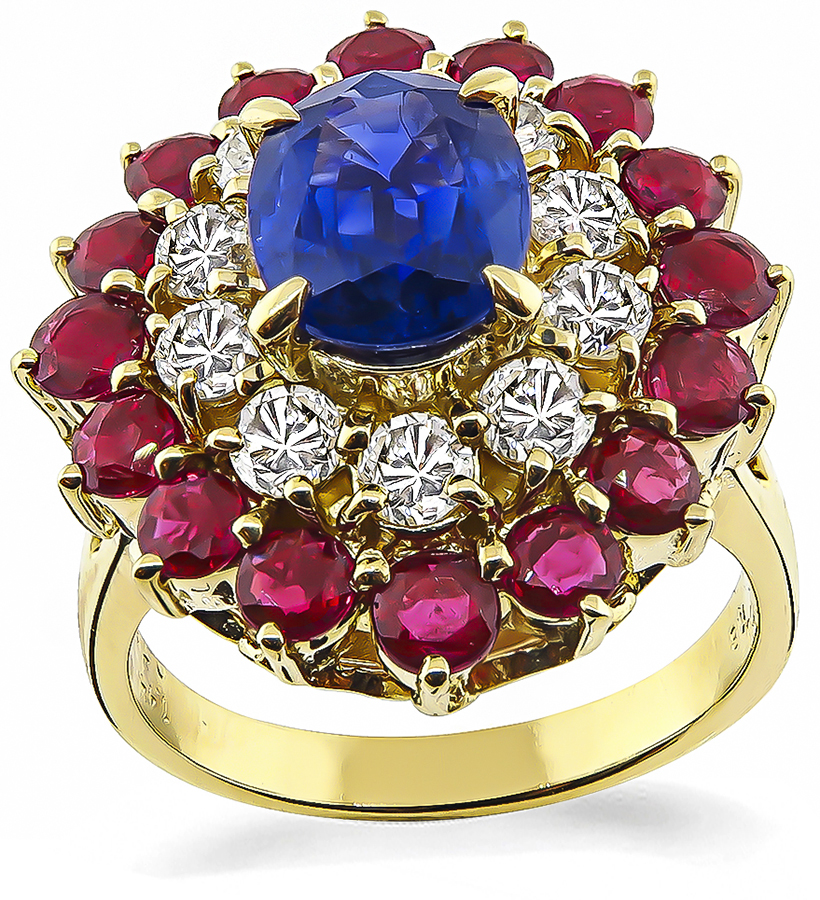 Estate 1.50ct Sapphire 1.44ct Ruby 0.78ct Diamond Gold Cocktail Ring