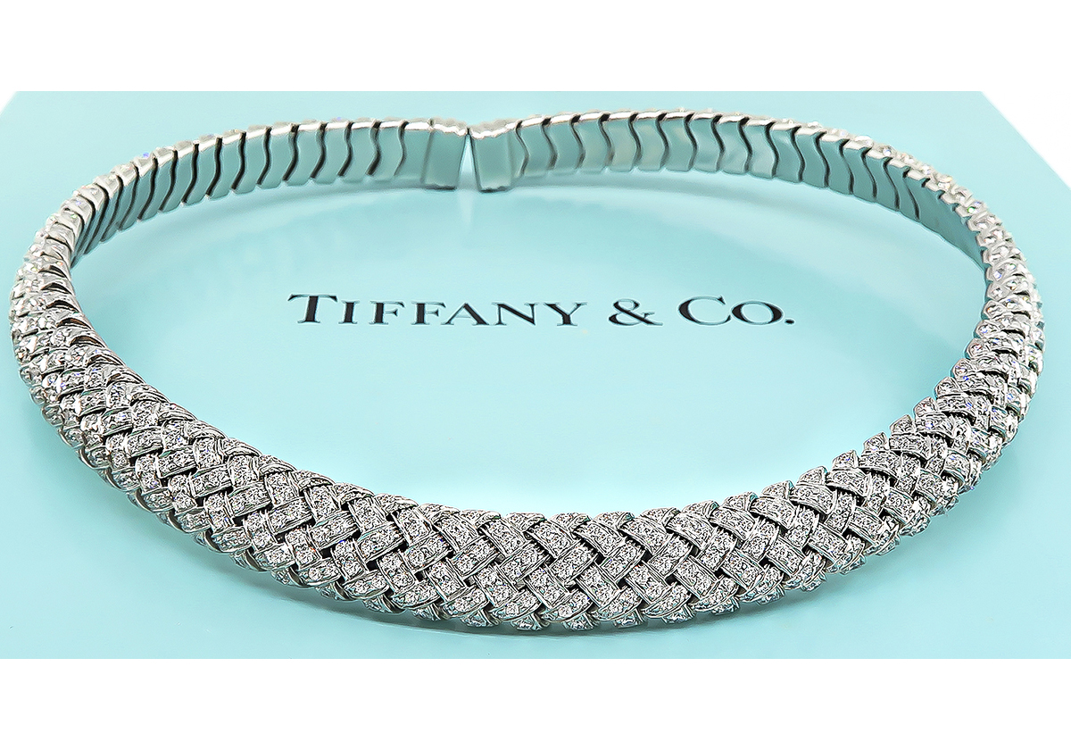 Tiffany & Co 18.00ct Diamond Vannerie Choker Necklace