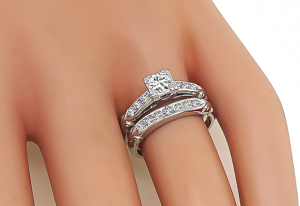 1920s 0.40ct Diamond Engagement Ring and Wedding Band Set