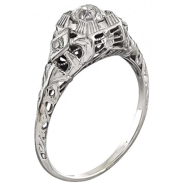 Vintage Old Mine Cut Diamond 14k White Gold Engagement Ring
