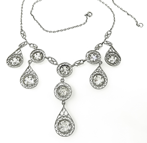 Edwardian Old Mine Cut Diamond Platinum Necklace
