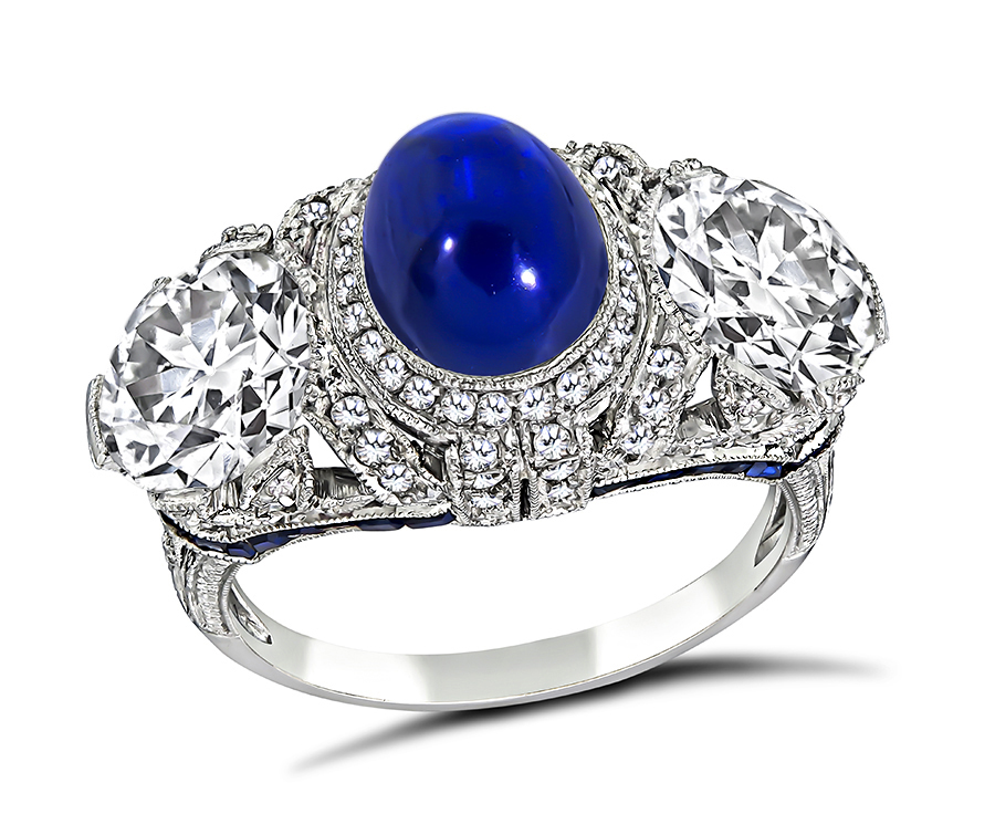 Vintage AGL and GIA 2.91ct Kashmir No Heat Sapphire GIA 1.46ct and 1.45ct Diamond Ring