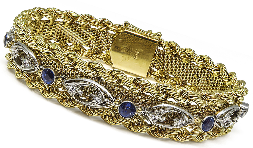 Art Deco and Arts and Crafts Sapphire Diamond 14k Yellow and White Gold Bracelet