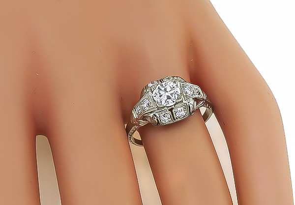 Antique GIA Certified 0.71ct Diamond Engagement Ring