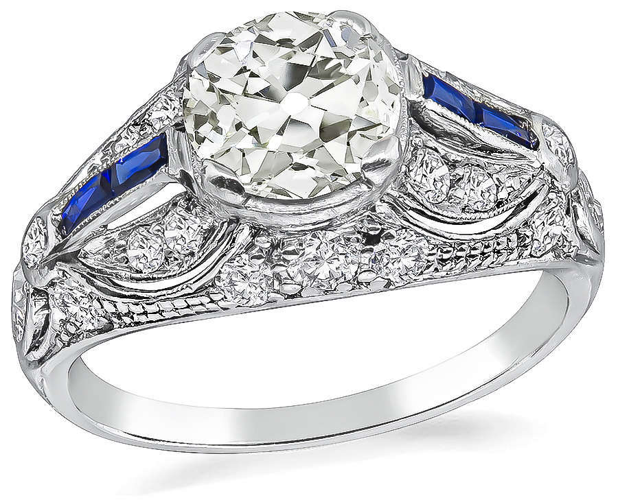 Vintage 1.08ct Diamond Sapphire Engagement Ring