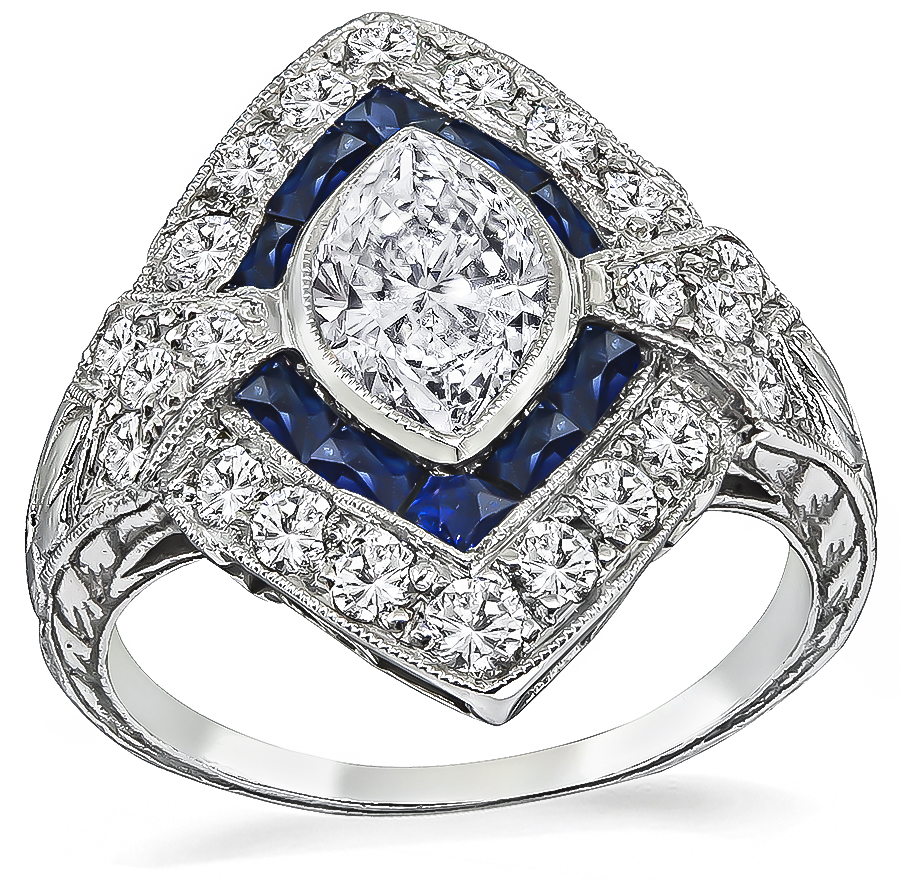Vintage GIA Certified 1.10ct Diamond Sapphire Engagement Ring