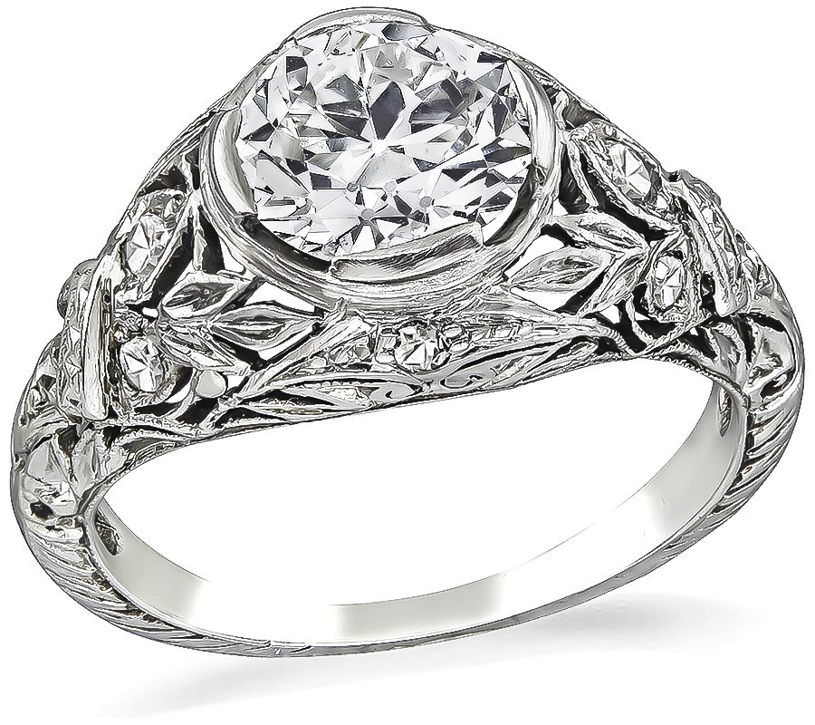 Art Deco GIA Certified 1.33ct Diamond Engagement Ring