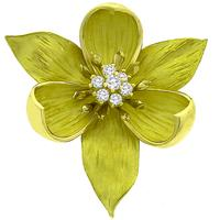 0.50ct Diamond Gold Wild Flower Pin/ Pendant