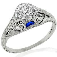 0.70ct Diamond Sapphire Platinum Engagement Ring