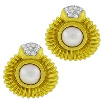 0.90ct Diamond Pearl Gold Earrings