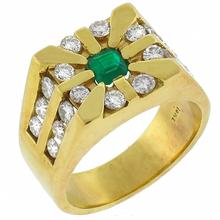 emerald diamond 18k yellow gold ring 1