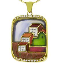 0.90ct Round Cut Diamond Carved Purple Onyx, Red Agate, Carnelian, Adventurine and Unikite Gems 18k Yellow Gold Pendant